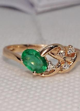 Кольцо изумруд бриллиант смарагд золото 585 16,5р видео