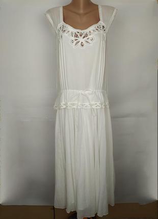 Платье новое натуральное белое легкое красивое кружево uk 12/40/m