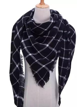 Стильный тёплый шарф плед платок в клетку в стиле zara