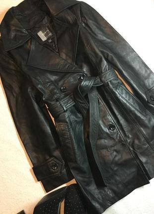 Новый с биркой тренч кожаный двубортный куртка плащ винтажный ...