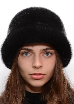 Черная женская норковая шляпа