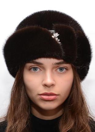 Женская норковая шляпа с пряжкой