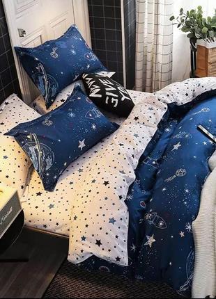 Комплект постельного белья полуторный. ракета