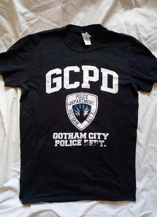 Черная футболка из бетмен полицейский департамент готема batma...