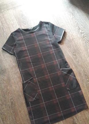 Трикотажное платье select в клетку со вставками кожзама р.6