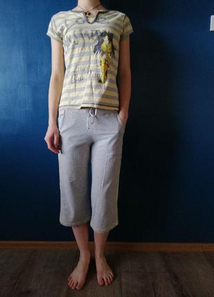 Хлопковая серая с лимонным пижама. кюлоты и футболка пижама.