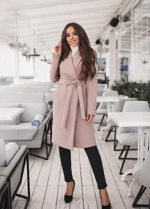 Женское пальто на запах, в комплекте пояс, с выточками