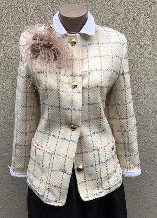 Винтаж,жакет,пиджак,блейзер клетку,стиль шанель,люкс бренд,шве...