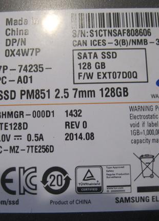 SSD Samsung 2,5 Жосткий диск для ноута, ПК на 128 Гб - за 630 грн