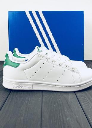 Кроссовки белые адидас adidas stan smith white green.