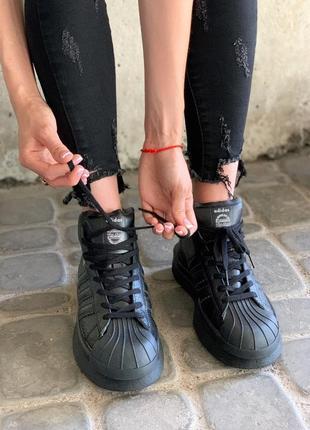 Кроссовки женские/мужские adidas x rick owens triple black
