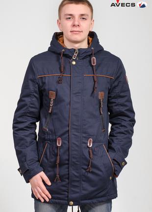Парка куртка мужская синяя Avecs AV-70098 Размеры 54