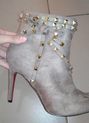 Женские ботильоны лодочки  на каблуке ботинки деми