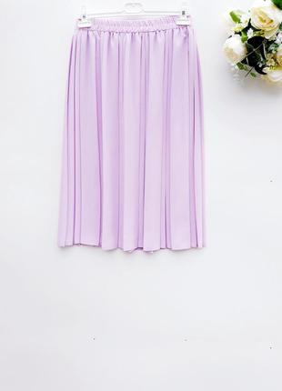 Лавандовая юбка миди плиссе плиссированная юбка миди