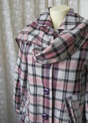 Пальто короткое клетчатое с шарфом легкое весеннее неутепленно...