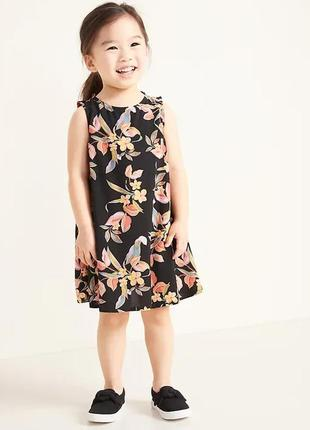 Черное детское платье с цветочками олд неви для девочки