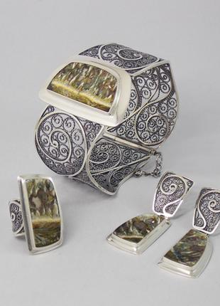 Серебряные украшения с агатом. Браслет, перстень, серьги.