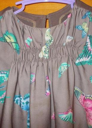 Сарафан летнее детское платье в бабочках на 6-8лет