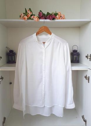 Хлопклвая удлиненная блузка длинный рукав