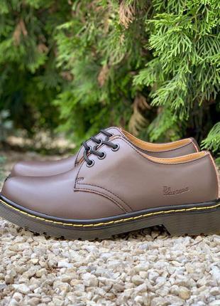 Кожаные броги dr. martens 1461 brown шкіряні броги туфли туфлі