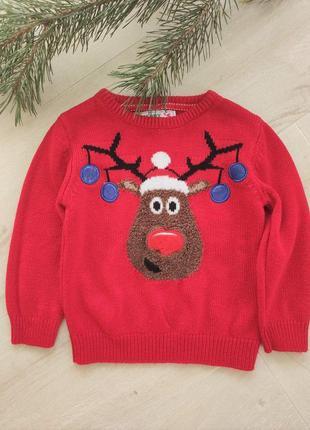 Детский новогодний свитер с оленем от rebel (2), на 2-3 года