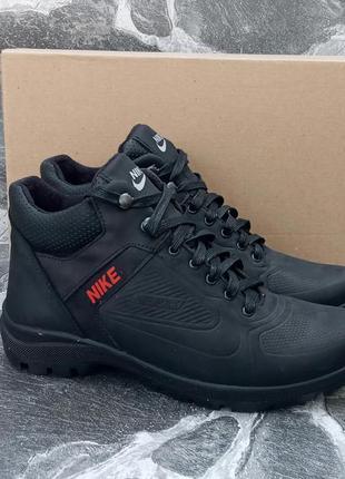 Мужские зимние ботинки nike winter boots черные,кожаные,с мехом