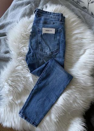 Джинсы синие с рваностями мужские скинни штаны узкие зара