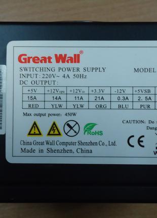 Блок питания 450W Great Wall atx-450pn VGA 6 пин