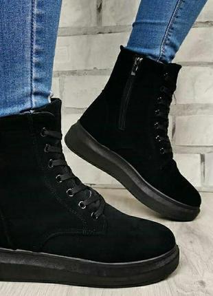 Спортивные ботинки платформа высокие кроссовки теплые на меху