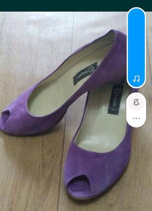 Туфли замш с открытым носком