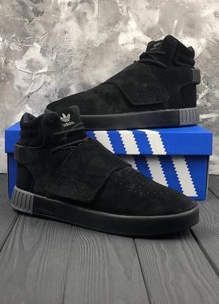 Мужские чёрные ❄️зимние❄️замшевые кроссовки адидас adidas tubu...