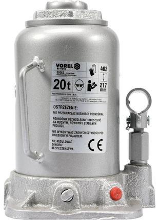 Домкрат бутылочный 20 тонн гидравлический Vorel 80082