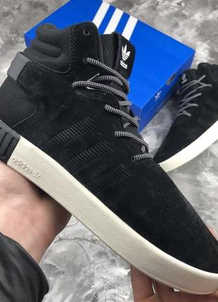 Мужские ❄️зимние❄️чёрные замшевые кроссовки адидас adidas tubu...