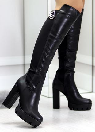 Удобные черные высокие женские сапоги ботфорты на устойчивом к...