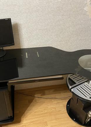 Стол письменный, компьютерный, стеклянный