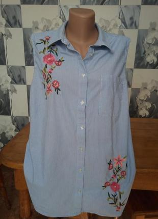 Блуза рубашка с вышивкой