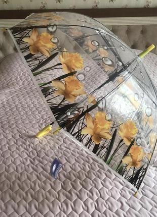 Зонт прозрачный с цветами