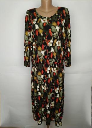 Платье миди красивой расцветки эластичное большой размер с кар...