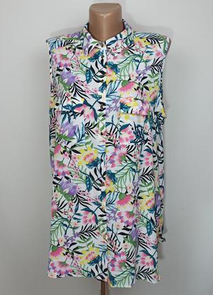 Блуза рубашка без рукавов в тропический принт uk 16/44/xl