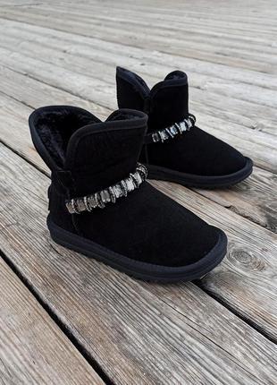 Натуральная замша угги ( u 66 ) детские черные ботинки сапожки...