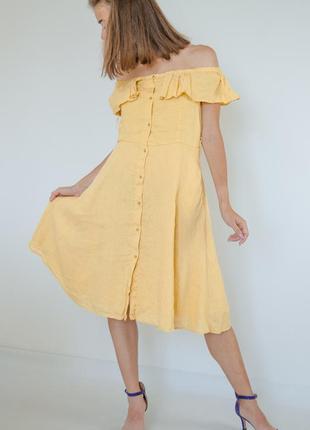 Zara льняное платье миди с открытыми плечами, юбкой а-силуэта,...