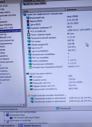 Рабочая видеокарта Asus V9560 Nvidia AGP 128Мб