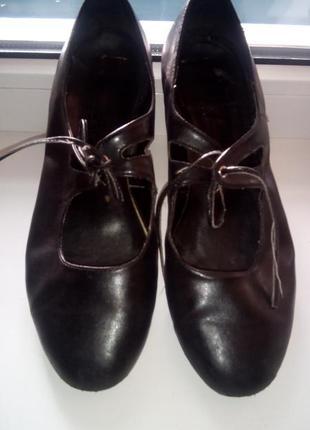 Балетки туфли натуральная качественная кожа черные р. 37