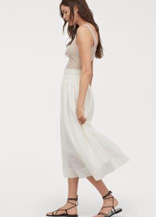 Белая юбка с кружевом по низу хлопок