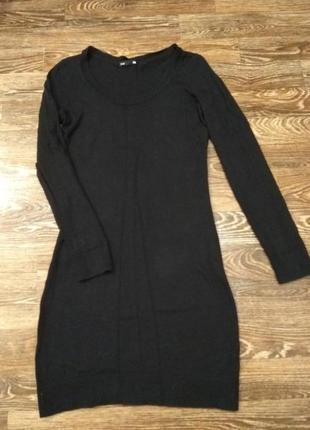 Черное трикотажное платье туника размер s- m
