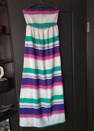 Платье сарафан в пол длинное на резинке в полоску