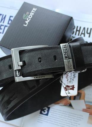 Ремень  lacoste gray / серый / мужской / кожаный