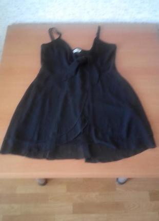 Черная ,блуза майка разлетайка шифон двухслойная с подкладкой