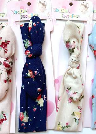 Милая трикотажная повязка чалма в цветочек для маленьких модниц