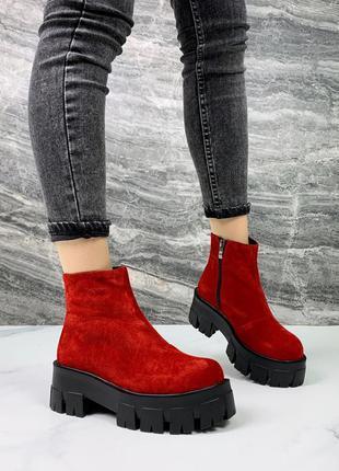 Красные замшевые ботинки на тракторной подошве,красные зимние ...